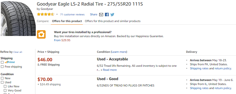 Goodyear Eagle used tire offers on Amazon.
