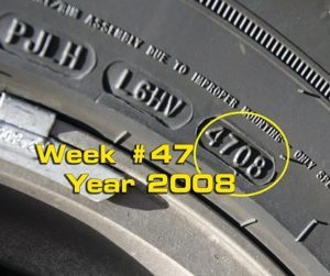 A date code on a tire
