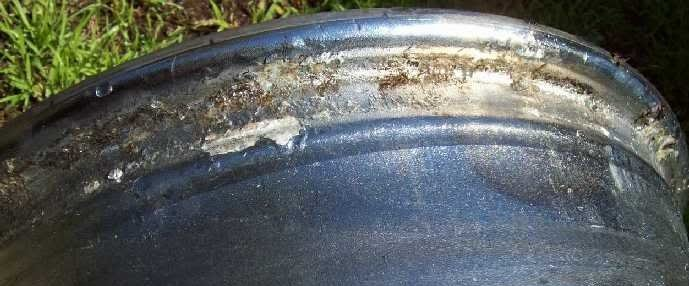 Corroded wheel bead seat.