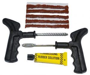 A standard tire plug kit.