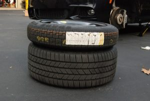 A spire tire and normal tire
