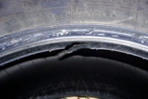 Damaged tire bead